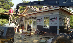 Installing slate roof tiles on a custom design/build remodel of an existing Pool House.